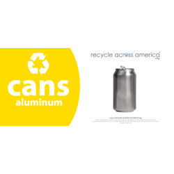 "Recycle Across America Aluminum Cans Standardized Recycling Labels, CANS-0409, 4"" x 9"", Yellow"