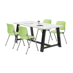 """KFI Studios Midtown Table With 4 Stacking Chairs, 30""""H x 36""""W x 72""""D, Designer White/Lime Green"""