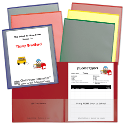 C-Line Classroom Connector School-To-Home 2-Pocket Folders, Letter Size, Assorted Colors, Pack Of 36 Folders