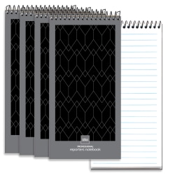 "Office Depot® Brand Professional Reporter's Notebook, 4"" x 8"", Black/Gray, Legal/Wide Ruled, 140 Pages (70 Sheets), Pack Of 4"