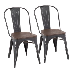 LumiSource Oregon Stackable Dining Chairs, Black/Espresso, Set Of 2 Chairs