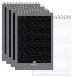 """Office Depot® Brand Professional Steno Book, 6"""" x 9"""", Legal/Wide Ruled, 140 Pages (70 Sheets), Black/Gray, Pack Of 4"""