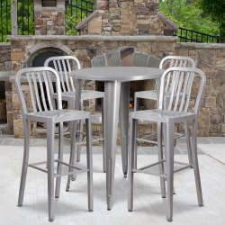 """Flash Furniture Commercial-Grade 30"""" Round Metal Indoor-Outdoor Bar Table with 4 Vertical-Slat-Back Stools, Silver"""