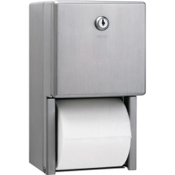 Bobrick Washroom 2-roll Steel Bath Tissue Dispenser - Roll - 2 x Roll - Stainless Steel, Satin - Heavy Duty, Anti-theft, Lockable