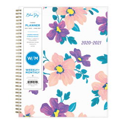 """Blue Sky™ Polypropylene Academic Weekly/Monthly Planner, 8-1/2"""" x 11"""", Multicolor, July 2020 to June 2021, 117899-A"""