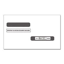 ComplyRight Double-Window Envelopes For W-2 (5216)/1099-R (5175) Tax Forms, Moisture-Seal, White, Pack Of 100 Envelopes