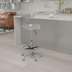 Flash Furniture Vibrant Drafting Stool, Silver/Chrome