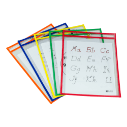 """C-Line Reusable Dry-Erase Pockets, 9"""" x 12"""", Assorted Colors, Pack Of 5 Pockets"""