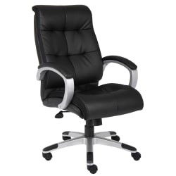 Boss Office Products Double-Plus Bonded LeatherPlus™ High-Back Chair, Black/Silver