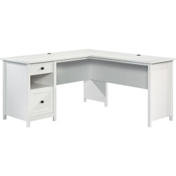 """Sauder® County Line 61""""W L-Shaped Office Desk With File Drawer, Soft White"""