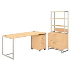 """kathy ireland® Office by Bush Business Furniture Method Table Desk With File Cabinets And Hutch, 72""""W, Natural Maple, Standard Delivery"""