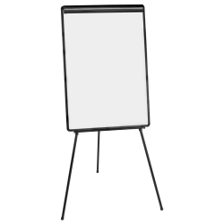 """MasterVision® Easy Clean Tripod Non-Magnetic Dry-Erase Whiteboard Presentation Easel, 71 1/2"""", Steel Frame With Black Finish"""