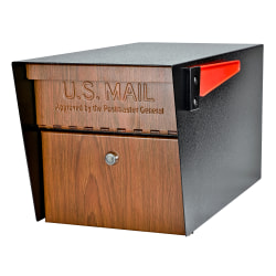 """Mail Boss Mail Manager Locking Security Mailbox, 11-1/4""""H x 10-3/4""""W x 21""""D, Wood Grain"""