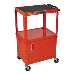 H. Wilson Metal Utility Cart With Locking Cabinet, Red