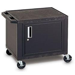 "H. Wilson Plastic Utility Cart With Locking Cabinet, 26""H x 24""W x 18""D, Black"