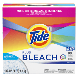 Tide® Powder Laundry Detergent With Bleach, Original Scent, 144 Oz Box, Pack Of 2 Boxes