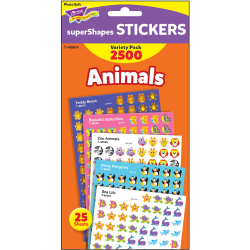 Trend Animals SuperShapes Stickers Variety Pack - Animal, Fun Theme/Subject (Sea Life, Butterfly, Penguin, Teddy Bear, Zoo Animal) Shape - Self-adhesive - Acid-free, Fade Resistant, Non-toxic - Multicolor - 2500 / Pack