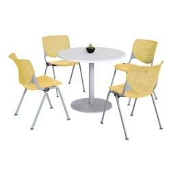 KFI Studios KOOL Round Pedestal Table With 4 Stacking Chairs, White/Yellow
