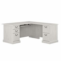 Bush Furniture Saratoga L-Shaped Computer Desk With Drawers, Linen White Oak, Standard Delivery