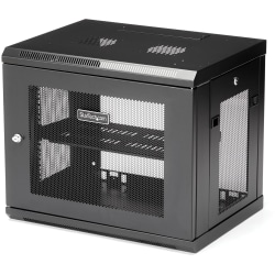 StarTech.com 9U Wallmount Server Rack Cabinet - Wallmount Network Cabinet - 14.6 in Deep - Wall-mount your server equipment flush against the wall with this 9U server rack - Comes fully assembled with a 1U shelf and 3 meter cable tie