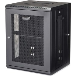 StarTech.com Wallmount Server Rack Cabinet - Hinged Enclosure - 15U - Wallmount Network Cabinet - 16.1in Deep - Use this wall mount network cabinet to mount your server or networking equipment to the wall with a hinged enclosure for easy access