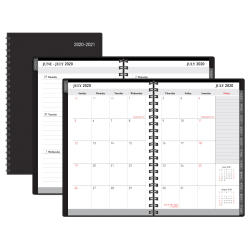 "Office Depot® Weekly/Monthly Academic Planner, 5"" x 8"", 30% Recycled, Black, July 2020 to August 2021"