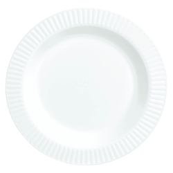 """Amscan Plastic Plates, 7-1/2"""", White, Pack Of 32 Plates"""
