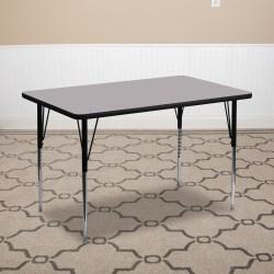 "Flash Furniture Rectangular Activity Table, 24""W x 48""D, Gray/Chrome"