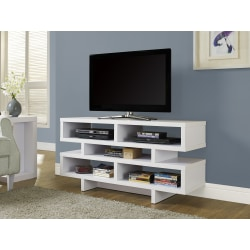 "Monarch Specialties Open-Concept TV Stand For Flat-Screen TVs Up To 48"", White"