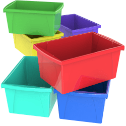 "Storex Classroom Storage Bins, 5.5 Gallons, 16-3/4"" x 11-7/8"" x 8-1/4"", Assorted Colors, Pack Of 6 Bins"