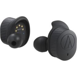 Audio-Technica SonicSport Wireless In-ear Headphones - Stereo - Wireless - Bluetooth - 32.8 ft - 14 Ohm - 20 Hz - 25 kHz - Earbud - Binaural - In-ear - Omni-directional Microphone - Black