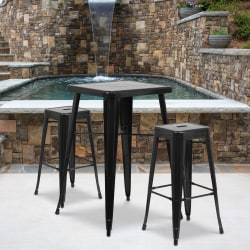 """Flash Furniture Square Metal Bar Table Set With 2 Backless Stools, 40""""H x 27-3/4""""W x 27-3/4""""D, Black"""