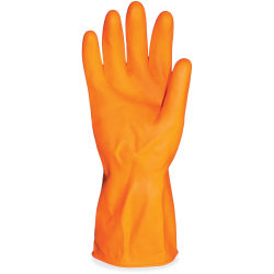 "ProGuard Deluxe Flock Lined 12"" Latex Gloves - Chemical, Abrasion, Acid Protection - Medium Size - Latex - Orange - 144 / Carton - 28 mil Thickness"
