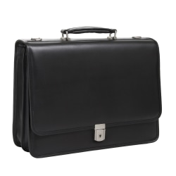 McKlein Lexington Leather Expandable Briefcase, Black