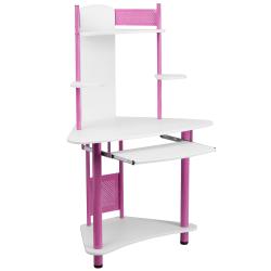 "Flash Furniture 39""W Corner Computer Desk With Hutch, Pink/White"