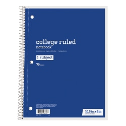 "Just Basics® Spiral Notebook, 7-1/2"" x 10-1/2"", College Ruled, 140 Pages (70 Sheets), Blue"