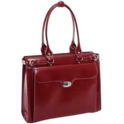 McKlein Winnetka Italian Leather Briefcase, Red