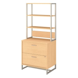 """kathy ireland® Office by Bush Business Furniture Method 30""""W Lateral 2-Drawer File Cabinet With Hutch, Natural Maple, Standard Delivery"""
