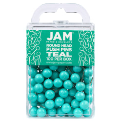 "JAM Paper® Colorful Push Pins, 1/2"", Teal, Pack Of 100 Push Pins"