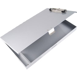 """Saunders Tuff Writer Recycled Aluminum Clipboard - 1"""" Clip Capacity - Side Opening - 12"""" - Low Profile - Aluminum - Silver - 1 Each"""