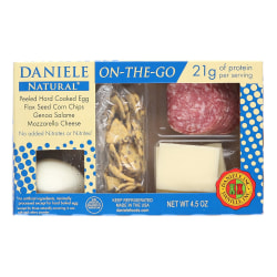 Daniele Natural On-The-Go Genoa Salami, Mozzarella, Flax Seed Chips And Egg, 4.5 Oz, Box Of 5 Packs