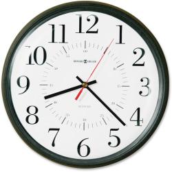 Howard Miller Alton Wall Clock - Analog - Quartz - White Main Dial - Black/Plastic Case - Satin Finish