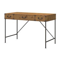 kathy ireland® Home by Bush Furniture Ironworks Writing Desk, Vintage Golden Pine, Standard Delivery