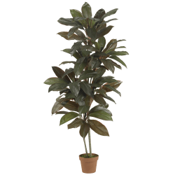 Nearly Natural 5'H Real-Touch Silk Cordyline Plant With Pot, Green