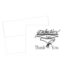 """Great Papers!® Thank You Cards For Graduation, 4 7/8"""" x 3 3/8"""", Black/White, Pack Of 20"""