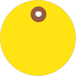 """Office Depot® Brand Plastic Circle Tags, 2"""", Yellow, Pack Of 100"""