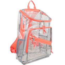 Eastport PVC Deluxe Top-Loader Backpack, Clear/Coral