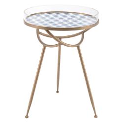 Zuo Modern Lattice Table, Round, Blue/Brass