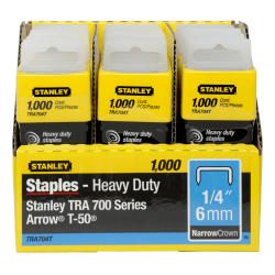 "Stanley SharpShooter Heavy-Duty 1/4"" Staples - Heavy Duty - 1/4"" - 1/4"" Leg - 3/8"" Crown - Insulated - Silver - 1000 / Box"