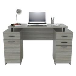 """Inval 51""""W 2-Pedestal Computer Desk, Smoke Oak"""